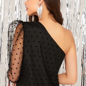 Urban Outfitters Tops - One shoulder sleeve mesh polka dot blouse